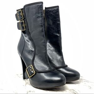 Aldo Spat heeled mid calf leather boots 9 black